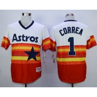 Astros #1 Carlos Correa WhiteOrange 1980 Turn Back The Clock Stitched Baseball Jersey