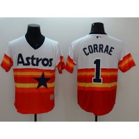 Astros #1 Carlos Correa WhiteOrange Flexbase Authentic Collection Cooperstown Stitched Baseball Jersey