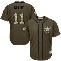 Astros #11 Evan Gattis Green Salute to Service Stitched Baseball Jersey