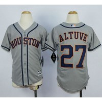 Astros #27 Jose Altuve Grey Cool Base Stitched Youth Baseball Jersey