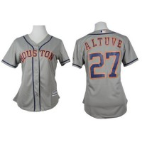 Astros #27 Jose Altuve Grey Road Women's Stitched Baseball Jersey