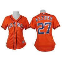 Astros #27 Jose Altuve Orange Alternate Women's Stitched Baseball Jersey