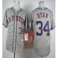 Astros #34 Nolan Ryan Grey Cool Base Stitched Baseball Jersey