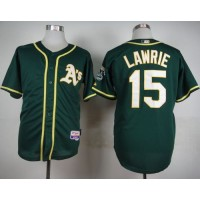 Athletics #15 Brett Lawrie Green Cool Base Stitched Baseball Jersey