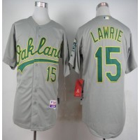 Athletics #15 Brett Lawrie Grey Cool Base Stitched Baseball Jersey