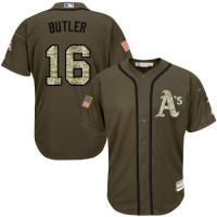 Athletics #16 Billy Butler Green Salute to Service Stitched Baseball Jersey