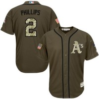 Athletics #2 Tony Phillips Green Salute to Service Stitched Baseball Jersey