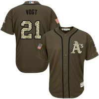 Athletics #21 Stephen Vogt Green Salute to Service Stitched Baseball Jersey