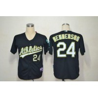 Athletics #24 Rickey Henderson Black Cool Base Stitched Baseball Jersey