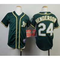 Athletics #24 Rickey Henderson Green Cool Base Stitched Youth Baseball Jersey