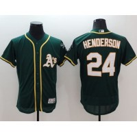 Athletics #24 Rickey Henderson Green Flexbase Authentic Collection Stitched Baseball Jersey