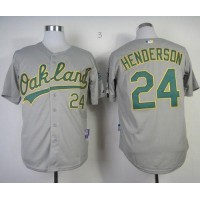 Athletics #24 Rickey Henderson Grey Cool Base Stitched Baseball Jersey