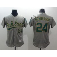 Athletics #24 Rickey Henderson Grey Flexbase Authentic Collection Stitched Baseball Jersey