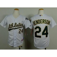 Athletics #24 Rickey Henderson White Cool Base Stitched Youth Baseball Jersey