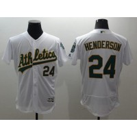 Athletics #24 Rickey Henderson White Flexbase Authentic Collection Stitched Baseball Jersey