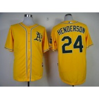 Athletics #24 Rickey Henderson Yellow Cool Base Stitched Baseball Jersey