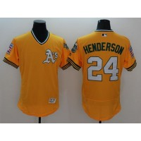Athletics #24 Rickey Henderson Yellow Flexbase Authentic Collection Cooperstown Stitched Baseball Jersey