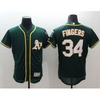 Athletics #34 Rollie Fingers Green Flexbase Authentic Collection Stitched Baseball Jersey