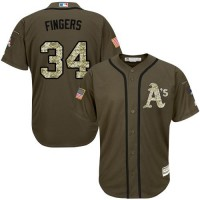 Athletics #34 Rollie Fingers Green Salute to Service Stitched Baseball Jersey