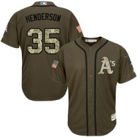 Athletics #35 Rickey Henderson Green Salute to Service Stitched Baseball Jersey
