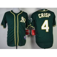Athletics #4 Coco Crisp Green Cool Base Stitched Baseball Jersey
