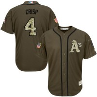 Athletics #4 Coco Crisp Green Salute to Service Stitched Baseball Jersey