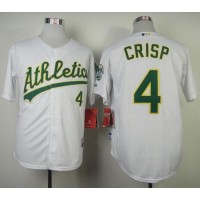 Athletics #4 Coco Crisp White Cool Base Stitched Baseball Jersey