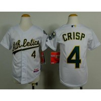 Athletics #4 Coco Crisp White Cool Base Stitched Youth Baseball Jersey
