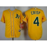 Athletics #4 Coco Crisp Yellow Cool Base Stitched Baseball Jersey