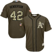Athletics #42 Dave Henderson Green Salute to Service Stitched Baseball Jersey