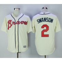Atlanta Braves #2 Dansby Swanson Cream Alternate Cool Base Stitched MLB Jersey