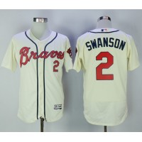 Atlanta Braves #2 Dansby Swanson Cream Flexbase Authentic Collection Stitched MLB Jersey