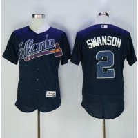 Atlanta Braves #2 Dansby Swanson Navy Blue Flexbase Authentic Collection Stitched MLB Jersey