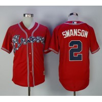 Atlanta Braves #2 Dansby Swanson Red Cool Base Stitched MLB Jersey