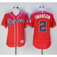 Atlanta Braves #2 Dansby Swanson Red Flexbase Authentic Collection Stitched MLB Jersey