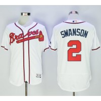 Atlanta Braves #2 Dansby Swanson White Flexbase Authentic Collection Stitched MLB Jersey