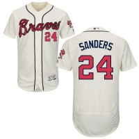 Atlanta Braves #24 Deion Sanders Cream Flexbase Authentic Collection Stitched MLB Jersey