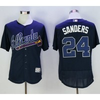 Atlanta Braves #24 Deion Sanders Navy Blue Flexbase Authentic Collection Stitched Baseball Jersey