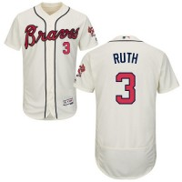Atlanta Braves #3 Babe Ruth Cream Flexbase Authentic Collection Stitched MLB Jersey