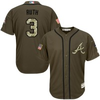 Atlanta Braves #3 Babe Ruth Green Salute to Service Stitched MLB Jersey