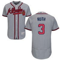 Atlanta Braves #3 Babe Ruth Grey Flexbase Authentic Collection Stitched MLB Jersey