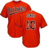 Baltimore Orioles #10 Adam Jones Orange Team Logo Fashion Stitched MLB Jersey