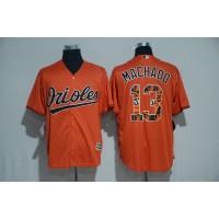 Baltimore Orioles #13 Manny Machado Orange Team Logo Print Cool Base Stitched Baseball Jersey