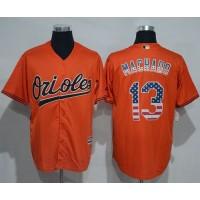 Baltimore Orioles #13 Manny Machado Orange USA Flag Fashion Stitched Baseball Jersey