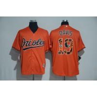 Baltimore Orioles #19 Chris Davis Orange Team Logo Print Cool Base Stitched Baseball Jersey
