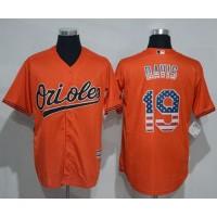 Baltimore Orioles #19 Chris Davis Orange USA Flag Fashion Stitched Baseball Jersey