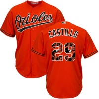Baltimore Orioles #29 Welington Castillo Orange Team Logo Fashion Stitched MLB Jersey