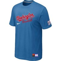 Baseball Washington Nationals Light Blue Nike Short Sleeve Practice T-Shirt
