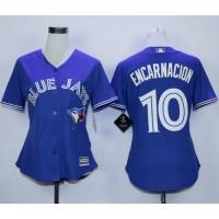 Blue Jays #10 Edwin Encarnacion Blue Alternate Women's Stitched Baseball Jersey