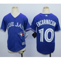 Blue Jays #10 Edwin Encarnacion Blue Cool Base Stitched Youth Baseball Jersey